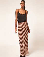 ASOS Sheer Stripe Maxi Skirt With Hot Pants