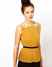 Darling Pleated Top with Lace Collar