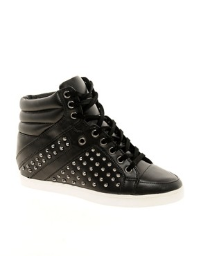 Image 1 ofALDO Helianthe Black Studded Wedge Trainers