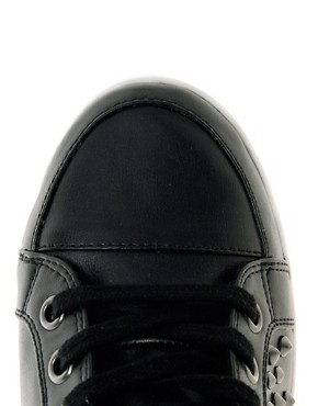 Image 3 ofALDO Helianthe Black Studded Wedge Trainers