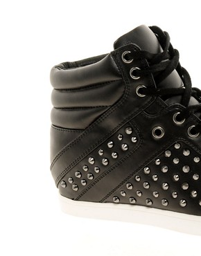 Image 4 ofALDO Helianthe Black Studded Wedge Trainers