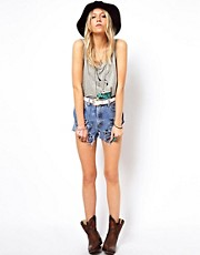 ASOS RECLAIMED VINTAGE Levi&#39;s Denim Shorts with Slashing