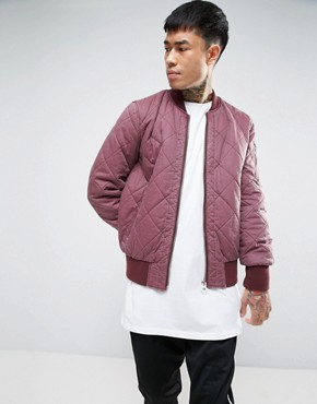 ASOS Relaxed Bomber Jacket With Quilt Detail in Washed Burgundy