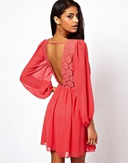 ASOS Wrap Dress With Blouson Sleeve &amp; Lace Back