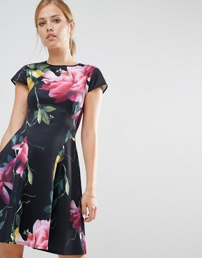 Ted Baker Allisia Skater Dress in Citrus Bloom Print