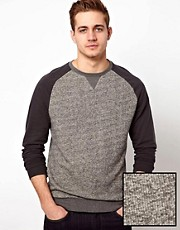 ASOS Sweatshirt In Twisted Yarn With Contrast Sleeves