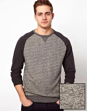 Image 1 ofASOS Sweatshirt In Twisted Yarn With Contrast Sleeves