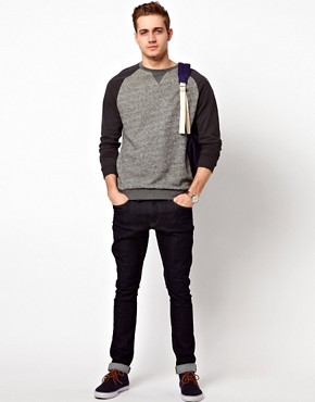 Image 4 ofASOS Sweatshirt In Twisted Yarn With Contrast Sleeves