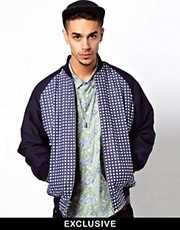 Reclaimed Vintage Varsity Jacket with Checked Panel