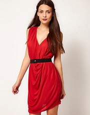 Dagmar Dress With Drape And Belt Detail