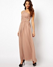 Little Mistress Embellished One Shoulder Maxi Dress