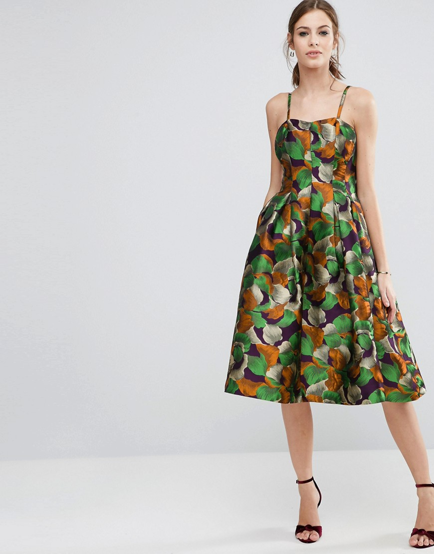 ASOS Metallic Leaf Jacquard Prom Midi Dress - Multi