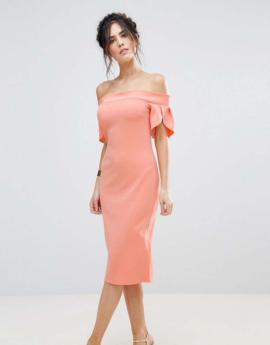 Club L Pencil Midi Dress With Sleeve Detail - Papaya punch