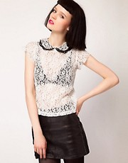Sister Jane Contrast PU Collar Lace Blouse