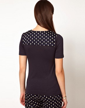 Image 2 ofOrla Kiely Jersey Top with Galleon Printed Yoke and Collar
