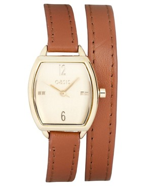 Image 1 ofOasis Gold Tonneau Leather Strap Watch
