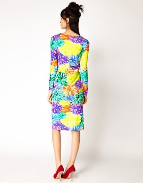 Image 2 ofHouse of Holland Long Sleeve Dress in Pom Pom Floral