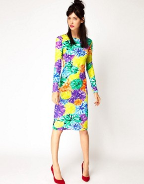 Image 4 ofHouse of Holland Long Sleeve Dress in Pom Pom Floral
