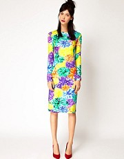 House of Holland Long Sleeve Dress in Pom Pom Floral