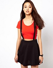 River Island Jersey Skater Skirt With Braces