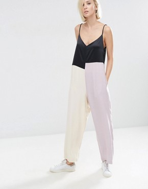 ASOS WHITE Colour Block Cami Jumpsuit