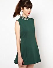 Sister Jane Swing Dress with Embellished Neck