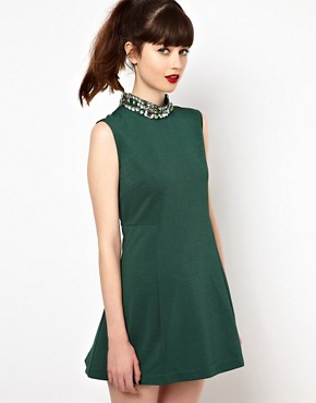 Image 1 of Sister Jane Swing Dress with Embellished Neck