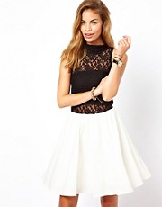 Glamorous Skater Dress with Lace High Neck