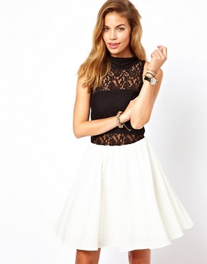 Image 1 ofGlamorous Skater Dress with Lace High Neck