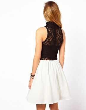 Image 2 ofGlamorous Skater Dress with Lace High Neck