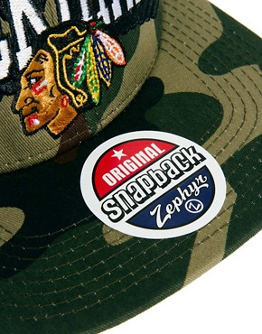 Image 3 ofZephyr Blackhawks Camo Snapback Cap
