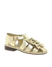 F-Troupe Bow Gold Strap Flat Sandals