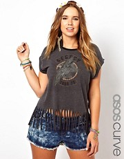 ASOS CURVE Fringed T-Shirt With Rock Print