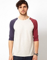 ASOS - T-shirt con maniche raglan a 3/4 a contrasto