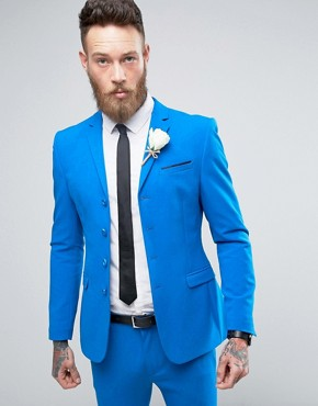 ASOS WEDDING Super Skinny Four Button Suit Jacket In Bright Blue