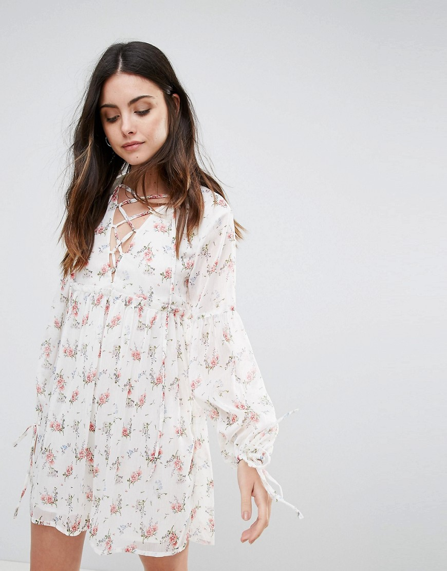 Influence Lace Up Smock Dress - Cream