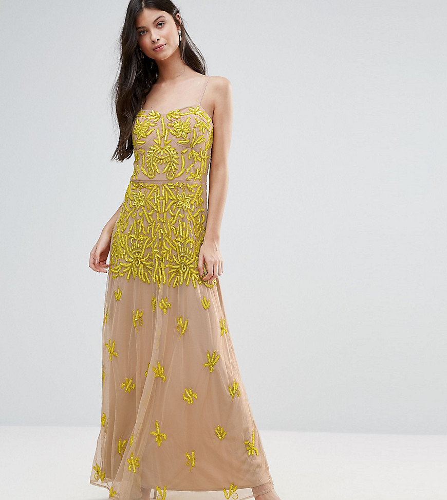 Maya Petite Allover Embellished Corset Top Maxi Dress
