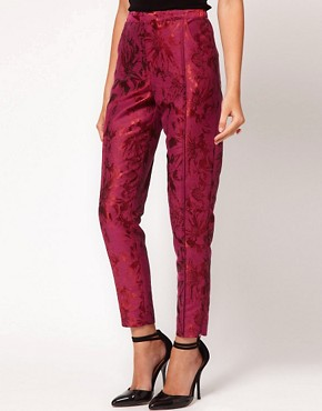 Image 4 ofASOS Floral Jacquard Trousers
