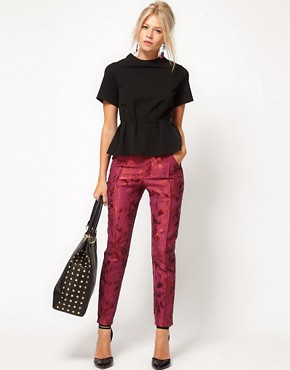Image 1 ofASOS Floral Jacquard Trousers