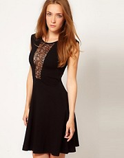 French Connection Lace Insert Skater Dress