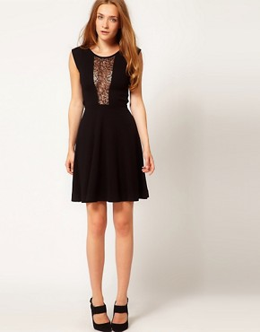 Image 4 ofFrench Connection Lace Insert Skater Dress