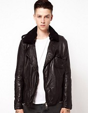 Muubaa Leather Jacket Shearling Collar
