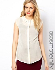 ASOS Maternity Blouse With Origami Collar In Spot