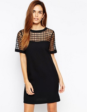 Warehouse Check Detail TShirt Dress