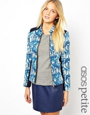 Image 1 ofASOS PETITE Exclusive Printed Jacket With Panel Detail