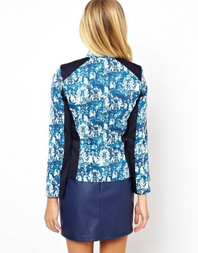 Image 2 ofASOS PETITE Exclusive Printed Jacket With Panel Detail