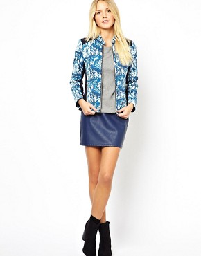 Image 4 ofASOS PETITE Exclusive Printed Jacket With Panel Detail