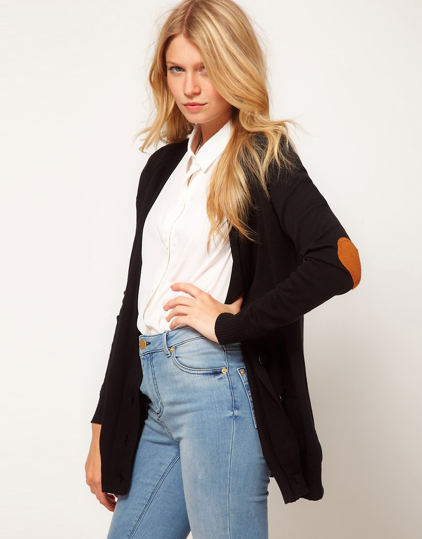 Image 1 of ASOS Cardigan With Heart Elbow Patch