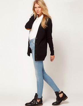 Image 4 ofASOS Cardigan With Heart Elbow Patch