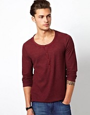 ASOS Long Sleeve T-Shirt With Scoop Grandad Neck And Waffle Jersey